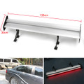 Double Deck GT Aluminum Rear Trunk Wing Racing Spoiler With Red Light, Silver #G1