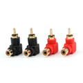 Mad Hornets 4PCS RCA Right Angle Connector Plug Adapters Male To Female 90 Degree Elbow