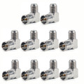 Mad Hornets 10PCS Slide-On Adapter F TV Plug Male To F TV Female Connector 90° Push-On