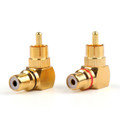 Mad Hornets 2PCS Brass RCA Right Angle Connector Plug Adapters Male To Female 90 Degree
