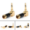 Mad Hornets 2PCS Right Angle Gold Plated 3.5mm Stereo Mini Jack Plug Connector Carbon Fiber