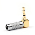 1PCS 3.5mm 4 Pole Audio Plug 90 Gold-plated Carbon Fiber Step Type Silver