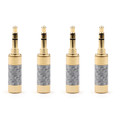 4PCS 3.5mm 3 Pole Audio Plug Gold-plated Carbon Fiber Step Type Gold
