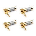 4PCS 3.5mm 3 Pole Audio Plug 90¡ãGold-plated Carbon Fiber Step Type Gold
