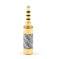 1PCS 3.5mm 4 Pole Audio Plug Gold-plated Carbon Fiber Step Type Gold