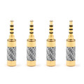 4PCS 3.5mm 4 Pole Audio Plug Gold-plated Carbon Fiber Step Type Gold