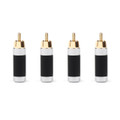 Mad Hornets 4PCS RCA Assembly Jack 8mm Caliber Audio Rhodium-plated Plug Adapter Blk (I002-A1002-Blk-4PCS)