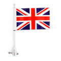 Rear Flag UK Flag Pole Stripes Mount For Road King Sportster 883, Chrome