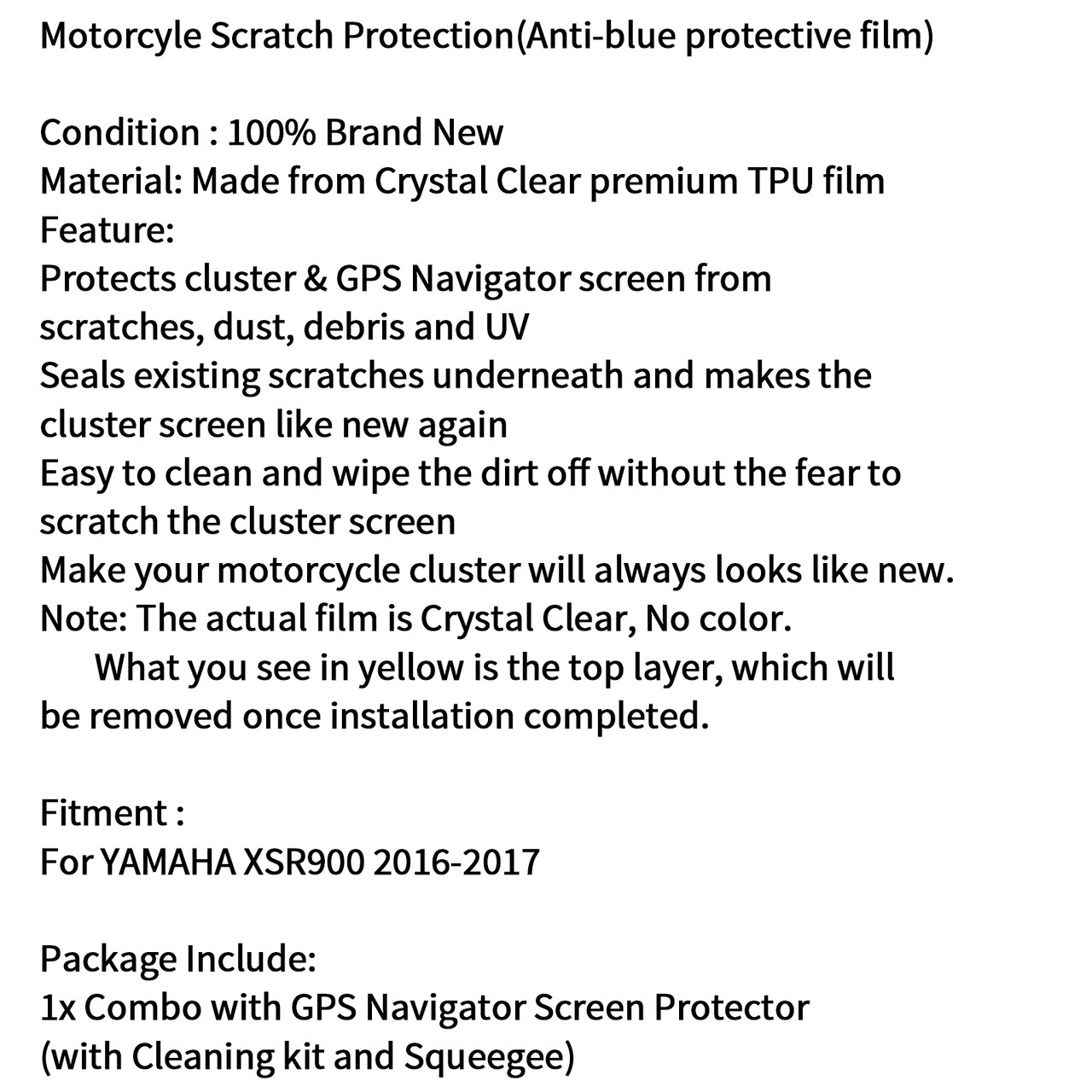 Speedometer Film Screen Protector Anti-Scratch Protection for Yamaha XSR900