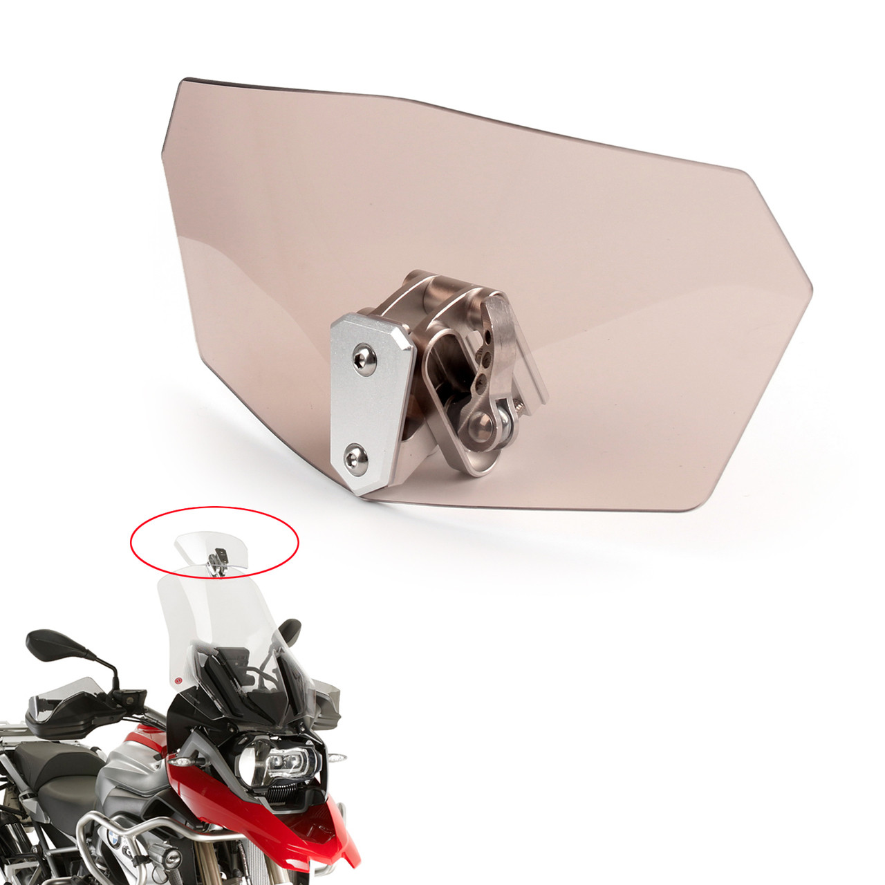 Adjustable Smoke Clip On Windshield Extension Spoiler Wind Deflector Motorcycle