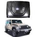 Jeep Wrangler 10th Anniversary Rubicon JK 07-18 Front Hood Steel Hard Rock Style, Black (C127-B008-Black)