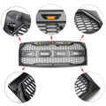 ABS Front Hood Grille LED For Ford F150 (2009-2014) Gunmetal (Grille-206-Grey)