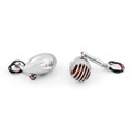 2PCs Turn Signals Grill Bullet Amber Indicator Lights Lamp Universal, Chrome