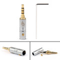 1PC 3.5mm 4 Pole TRRS Stereo Male Audio Plug Connector For Headphone, Silver