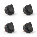 4PCS SCI 24mm 12V LED Round Rocker Switch ON/OFF for Car Van Dash Boat, Green