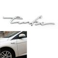 1PC 3D TURBO Words Sports Car Sticker Metal Emblem Rear Car Trunk Badge Silver