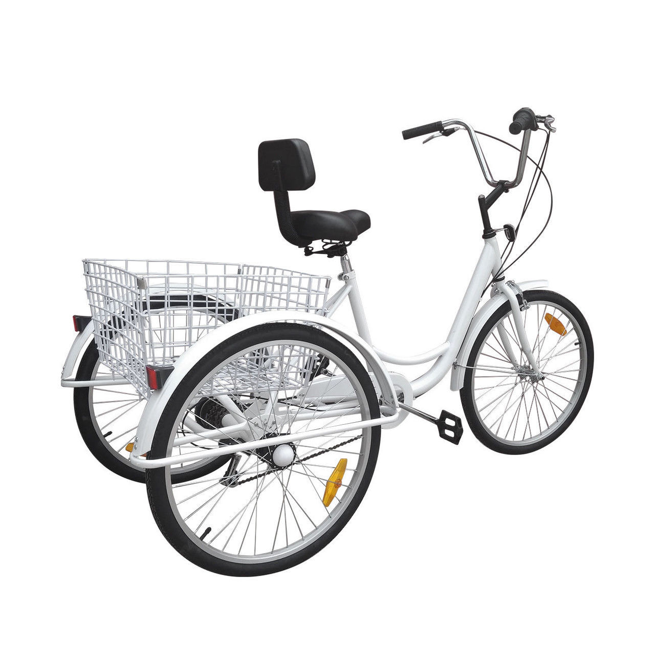 "24/"" 3Wheel Adult Senior Bike Aluminum Tricycle Basket Trike Cruise Shoppping New"