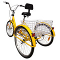 """24"""" Tricycle Adult 3-Wheel Trike 7-Speed Bike Bicycle with Basket Yellow"""