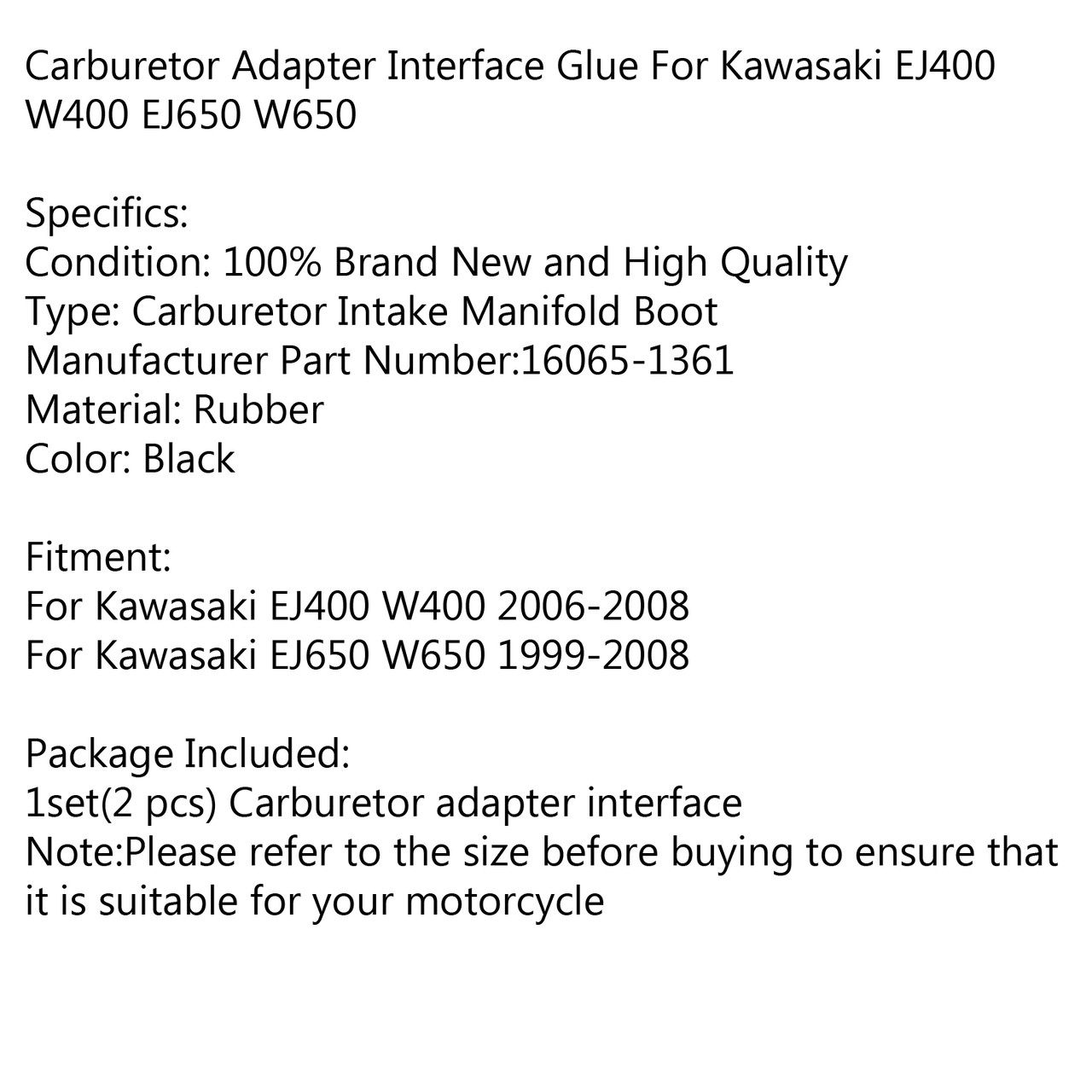 Carburetor Intake Manifold Rubber Boots For Kawasaki EJ 400/650 W 400  2006-2008