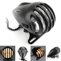 "9"" Bullet Headlight 4 3/4"" Headlight Grill Cover For Most Motorcycle/Cruisers/Bikes Black"
