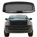 Rivet Style SS Wire Mesh Grille + Shell For 06-08 Dodge Ram 1500 2500 3500 Black