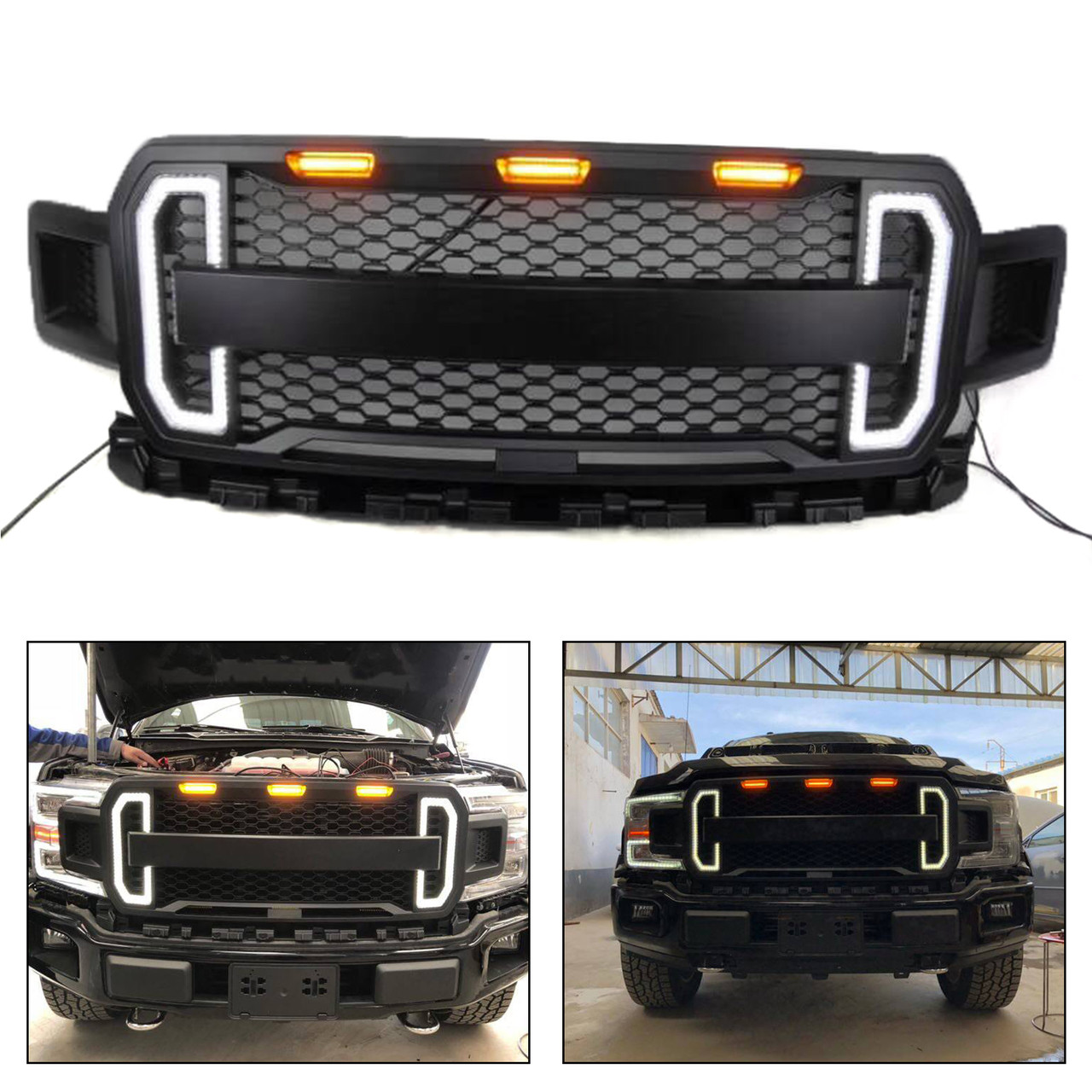 Best 2018-2019 F150 Raptor Conversion Grille with LED Day