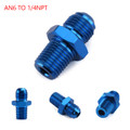 1PC AN6 TO 1/4NPT ORB-6 Straight Fuel Oil Air Hose Fitting Male Adapter Blue