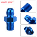 1PC AN6 TO 3/8NPT ORB-6 Straight Fuel Oil Air Hose Fitting Male Adapter Blue