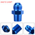 1PC AN8 TO 3/4NPT ORB-8 Straight Fuel Oil Air Hose Fitting Male Adapter Blue