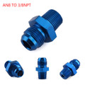 1PC AN8 TO 3/8NPT ORB-8 Straight Fuel Oil Air Hose Fitting Male Adapter Blue