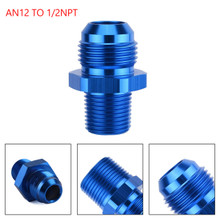 1PC AN12 TO 1/2NPT ORB-12 Straight Fuel Oil Air Hose Fitting Male Adapter Blue