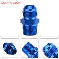 1PC AN12 TO 3/4NPT ORB-12 Straight Fuel Oil Air Hose Fitting Male Adapter Blue