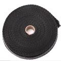 "4/5"" 50Ft Fiberglass Exhaust Header Pipe Heat Wrap Tape + 10 Ties Kit Black"