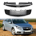 2PC Front Bumper Upper + Lower Grille Inserts Trim Covers For Chevrolet Cruze 2009-2014 Black