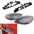 Smoke Headlight Lens Replacement Cover & Black Gaskets Kit For C6 Corvette 05-13 Gray
