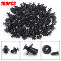 100x 8mm Hole Black Plastic Rivets Fastener Push Clips for Bumper Door Trim Black