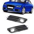 Left + Right Fog Light Grill Chrome Ring Bumper For Audi A4 S-LINE S4 08-12 Chrome
