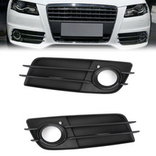 Left+Right Matte Black Fog Light Grill S-Line Bumper For Audi A4 S-LINE S4 08-12 Black