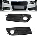 Left+Right Matte Black Fog Light Grill S-Line Bumper For Audi A4 S-LINE S4 08-12 Black