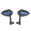 "Sportbike 7/8"" Handle Bar End Mirrors Universall Blue"