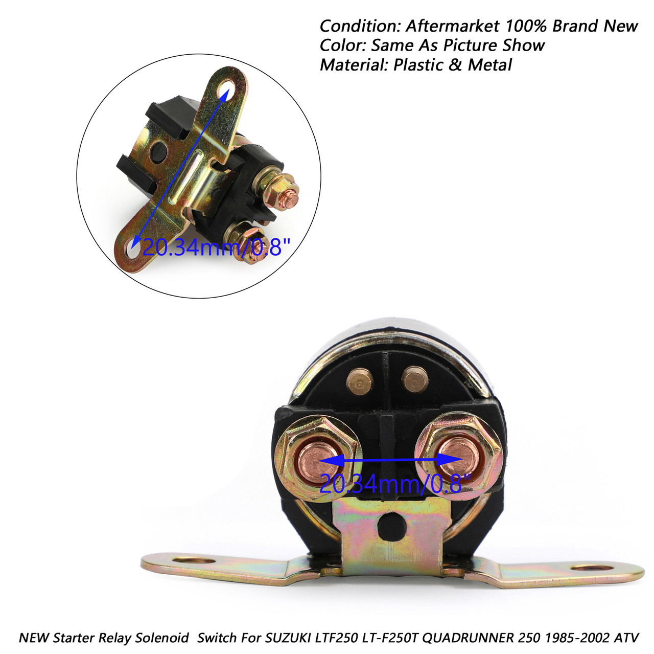 Starter Relay Solenoid Ignition Switch Key For SUZUKI LT-F4WDX KING QUAD  ATV 91-98 LTF230 LT-F230 QUADRUNNER ATV NEW 86-87