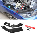2X Engine Bay Side Panel Covers Replace Trims For 10th Gen Honda Civic 16-19 Black