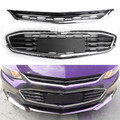 Honeycomb Mesh Chrome Front Bumper Upper & Lower Grille For Chevy Malibu 2016-2018