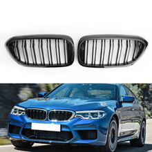 Double Rib Front Replace Grille For BMW 5Series G30 G31 Sedan 17-19 Glossy Black