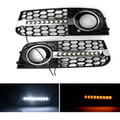 2X Honeycomb Mesh Grille Flowing LED Fog Light Turn Signal For AUDI A4 B8 09-11 Black