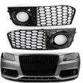 Fog Light Cover Grille Grill Honeycomb For Audi Audi A4 B8 RS4 Style Refitted Vehicle 09-12 Black