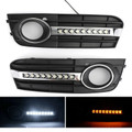 2X Flowing LED Fog Light Grille Cover For AUDI A4 B8 2009-2011 Black