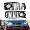2X Honeycomb Fog Light Grilles Trim For Audi A5 S-Line S5 B8 RS5 2008-2012 Black