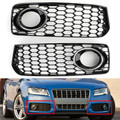 2X Honeycomb Fog Light Grilles Trim For Audi A5 S-Line S5 B8 RS5 2008-2012 Chrome