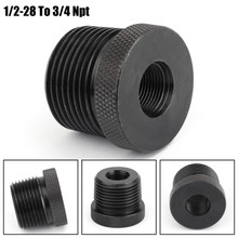 1/2-28 To 3/4 NPT Threaded Adapter Automotive Oil Filter Adapter Knurled Black